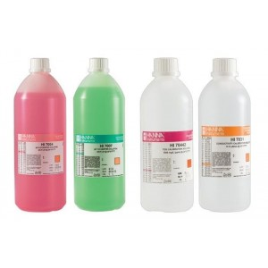 Hanna pH 4.01, pH 7.01, 1500 PPM, 1413 uS Solutions